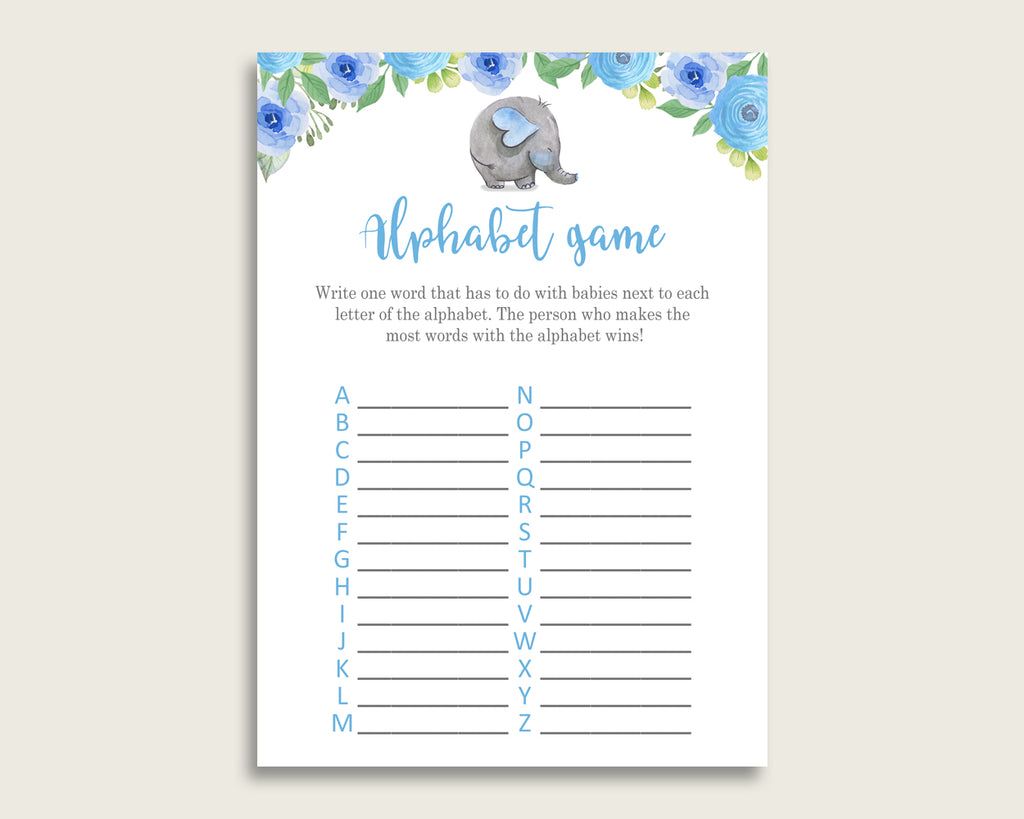 Blue Gray Alphabet Baby Shower Boy Game, Elephant Blue A-Z Guessing Baby Game Printable, ABC's Baby Item Name Game, Instant Download, ebl01