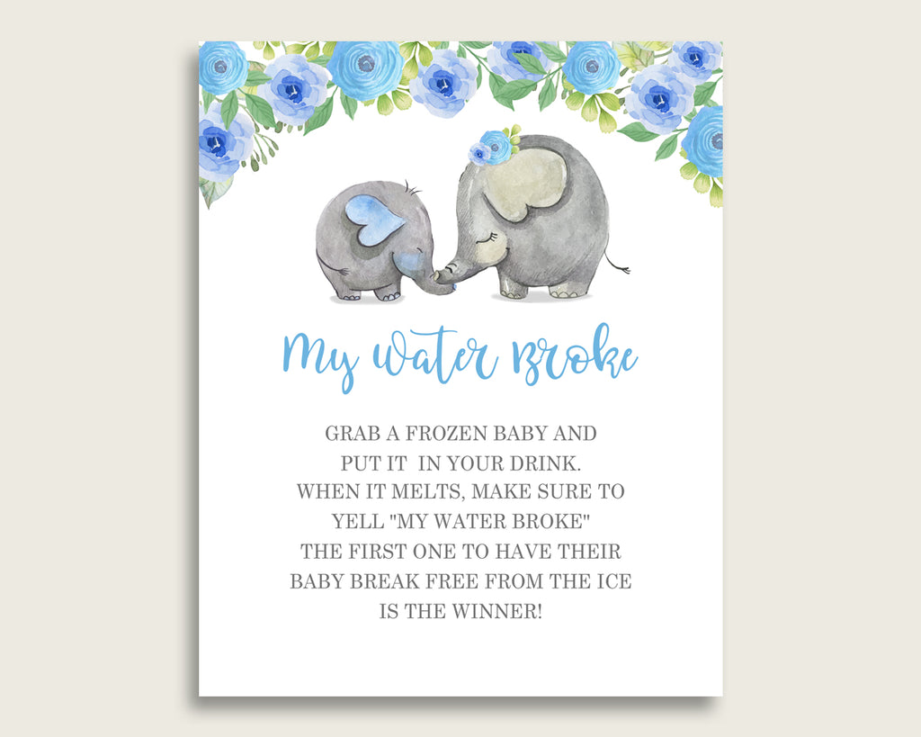 Elephant Blue Baby Shower My Water Broke Game Printable, Blue Gray Ice Cube Babies Game, Boy Baby Shower Frozen Babies Game Sign 8x10 ebl01