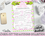 MAD LIBS baby shower game with green alligator and pink color theme, instant download - ap001