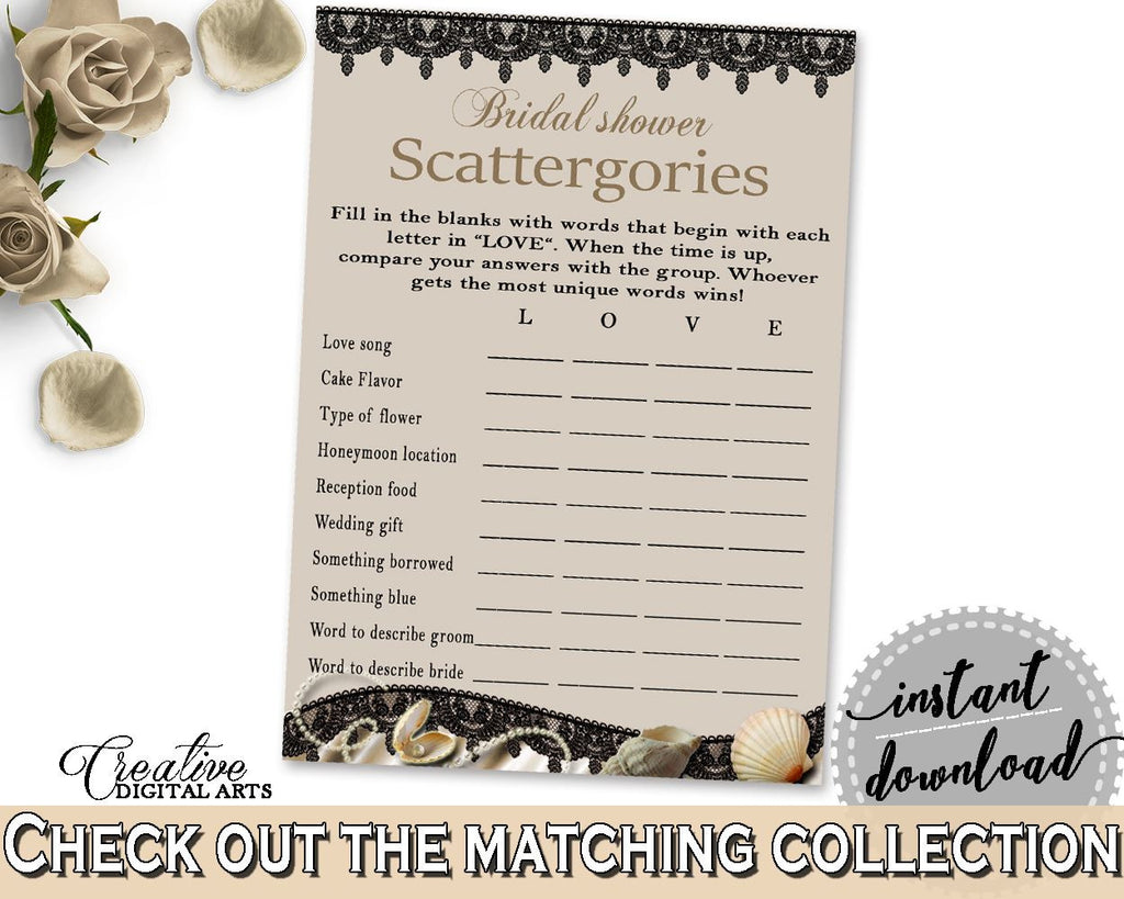 Brown And Beige Seashells And Pearls Bridal Shower Theme: Scattergories Game - bride scattergories, seashells shower, party theme - 65924 - Digital Product
