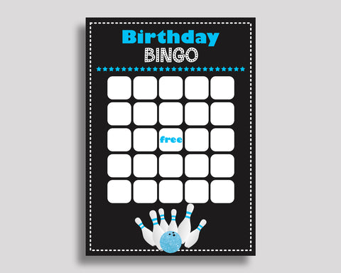 Bowling Bingo Gift Bowling Birthday Bingo Blank Bowling Bingo Cards Black Blue Birthday Activity Boy 5DVSP