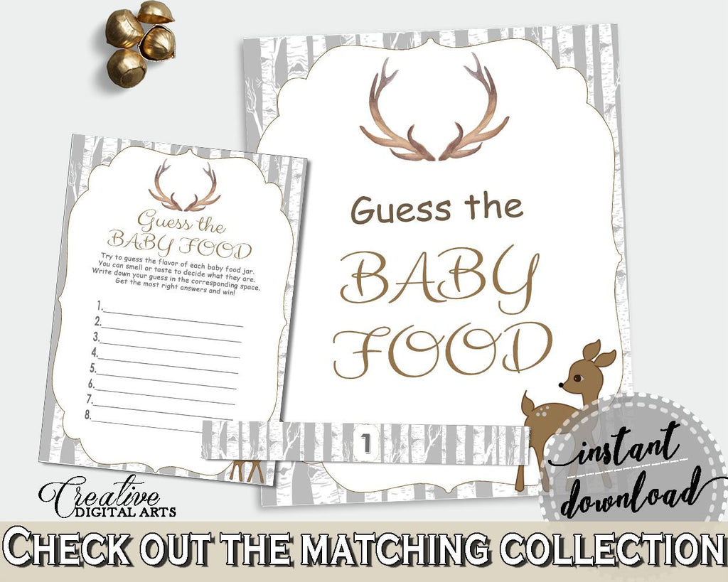 Baby Food Guessing Baby Shower Baby Food Guessing Deer Baby Shower Baby Food Guessing Baby Shower Deer Baby Food Guessing Gray Brown Z20R3 - Digital Product
