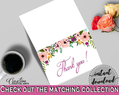 White And Pink Watercolor Flowers Bridal Shower Theme: Thank You Card - thanks for coming, pink flowers shower, customizable files - 9GOY4 - Digital Product