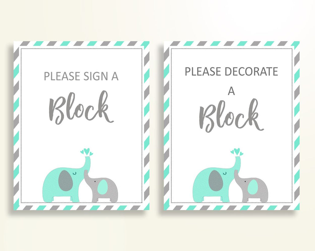 Sign A Block Baby Shower Decorate A Block Turquoise Baby Shower Sign A Block Baby Shower Elephant Decorate A Block Green Gray prints 5DMNH - Digital Product