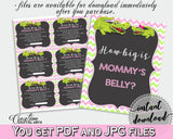 HOW BIG IS MOMMY'S BELLY baby shower game with green alligator and pink color theme, instant download - ap001
