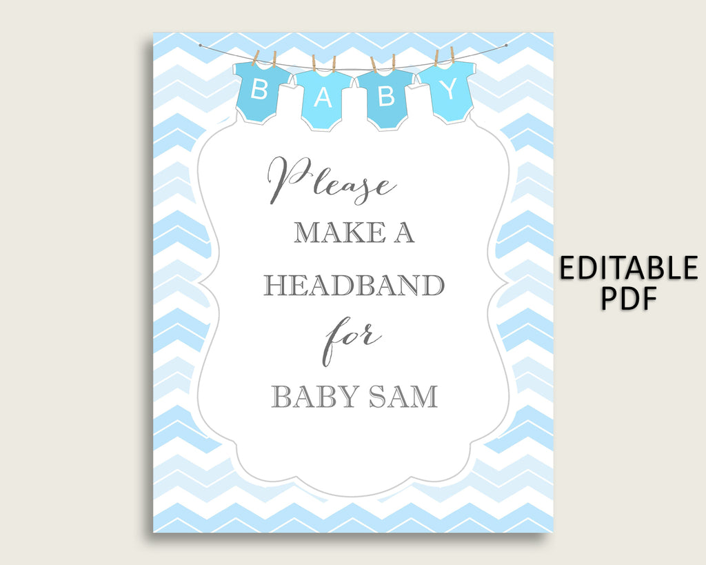 Chevron Baby Shower Headband Sign, Blue White Headband Station Sign Editable, Boy Shower Headband For Baby, Instant Download, Popular cbl01