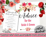 Advice For The Bride And Groom in Bohemian Flowers Bridal Shower Pink And Red Theme, wedding templates, boho chic, party decor - 06D7T - Digital Product