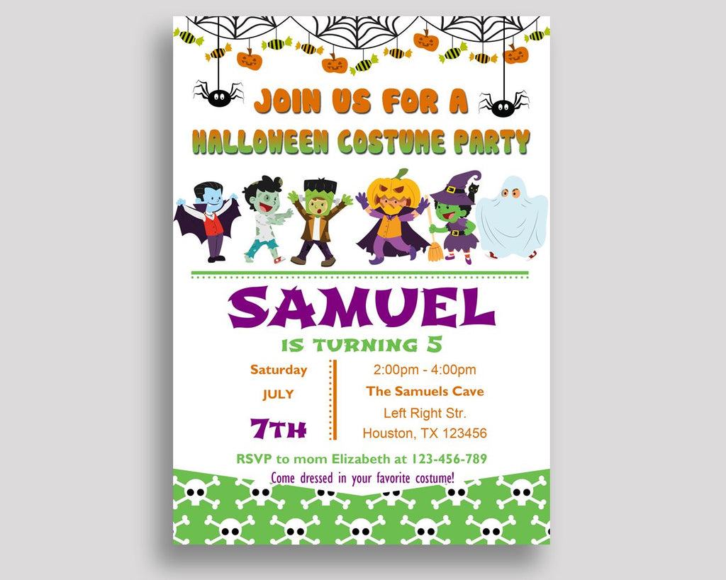 Halloween Costume Birthday Invitation Halloween Costume Birthday Party Invitation Halloween Costume Birthday Party Halloween Costume 7YM2Q - Digital Product