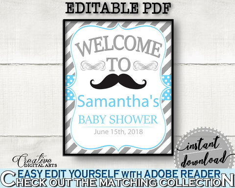 Blue Gray Welcome Sign, Baby Shower Welcome Sign, Mustache Baby Shower Welcome Sign, Baby Shower Mustache Welcome Sign digital print 9P2QW - Digital Product