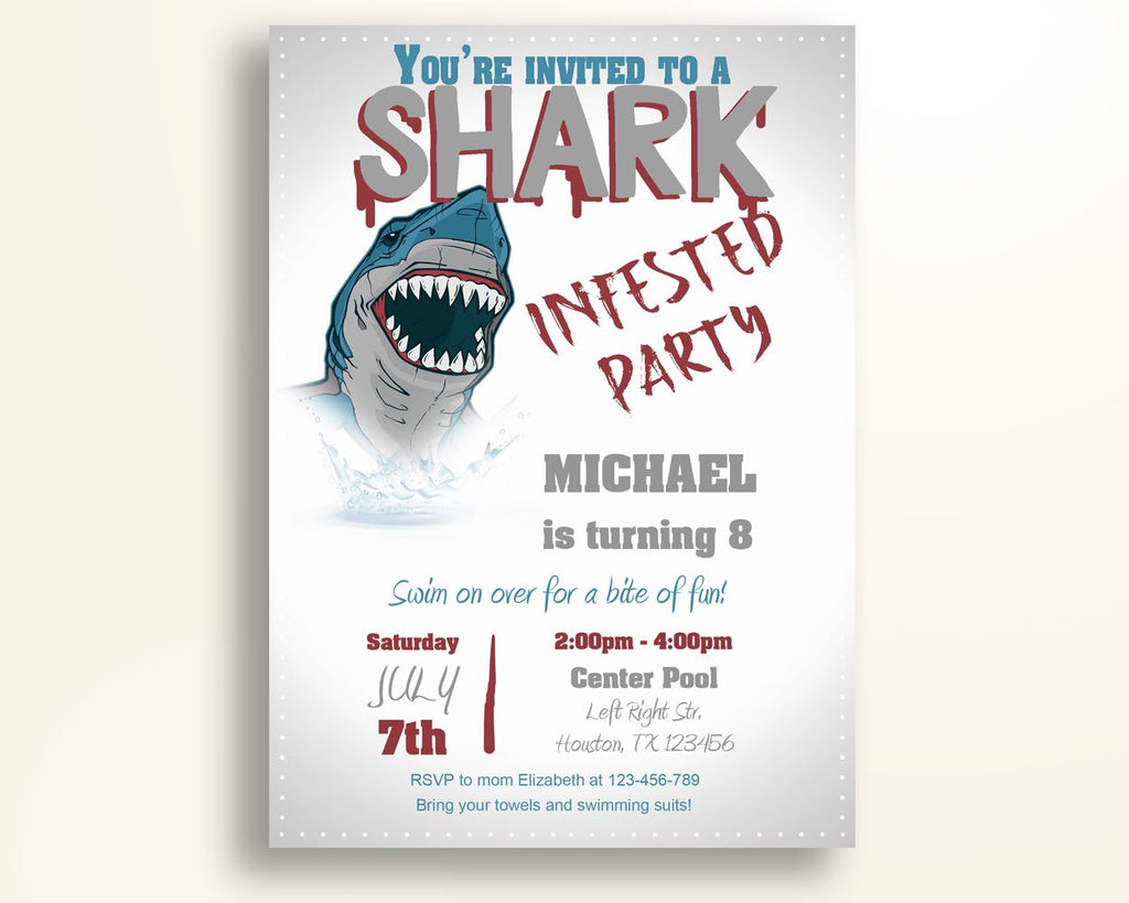 Shark Attack Birthday Invitation Shark Attack Birthday Party ...