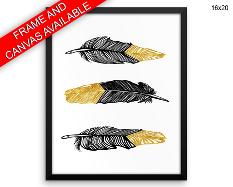 Black And Gold Print, Beautiful Wall Art with Frame and Canvas options available Feathers Decor