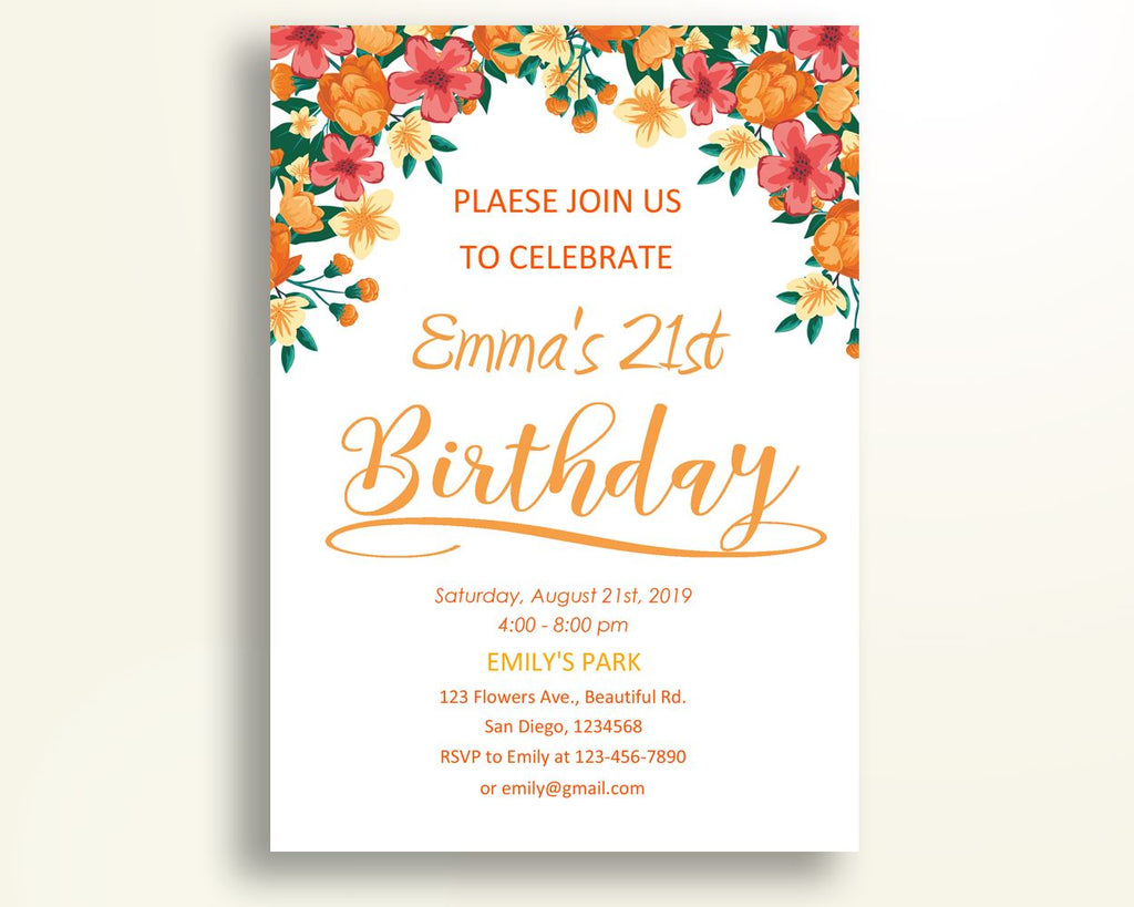 Flowers Birthday Invitation Teenage Birthday Party Invitation