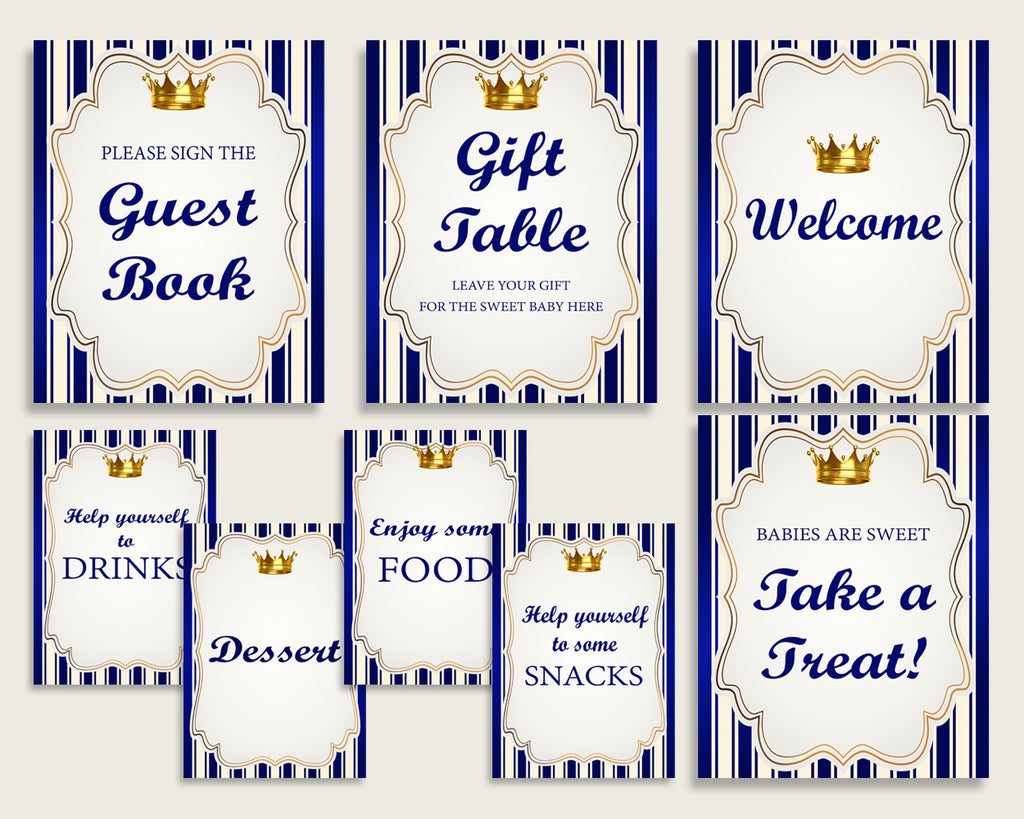 Royal Prince Baby Shower Boy Table Signs Printable, Blue Gold Party Table Decor, Favors, Food, Drink, Treat, Guest Book, Instant rp001