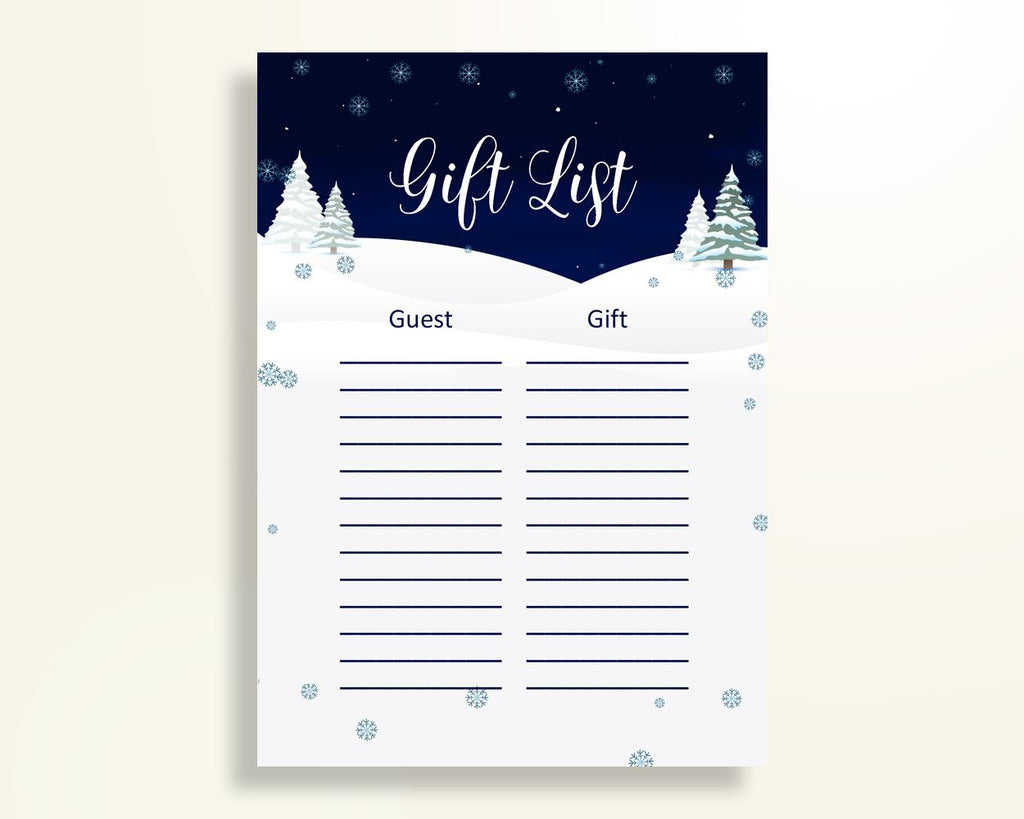 Gift List Baby Shower Gift List Winter Baby Shower Gift List Baby Shower Winter Gift List Blue White party organising party ideas 3E6QO - Digital Product