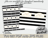 Baby shower CANDY BAR decoration wrappers and labels printable with black stripes color theme glitter text, instant download - bs001