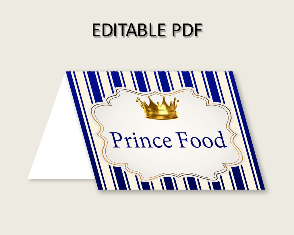 Royal Prince Folded Food Tent Cards Printable, Blue Gold Editable Pdf Buffet Labels, Boy Baby Shower Food Place Cards, Instant rp001