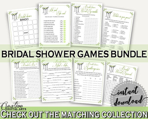 Games Bridal Shower Games Modern Martini Bridal Shower Games Bridal Shower Modern Martini Games Green White party décor, party ideas ARTAN - Digital Product