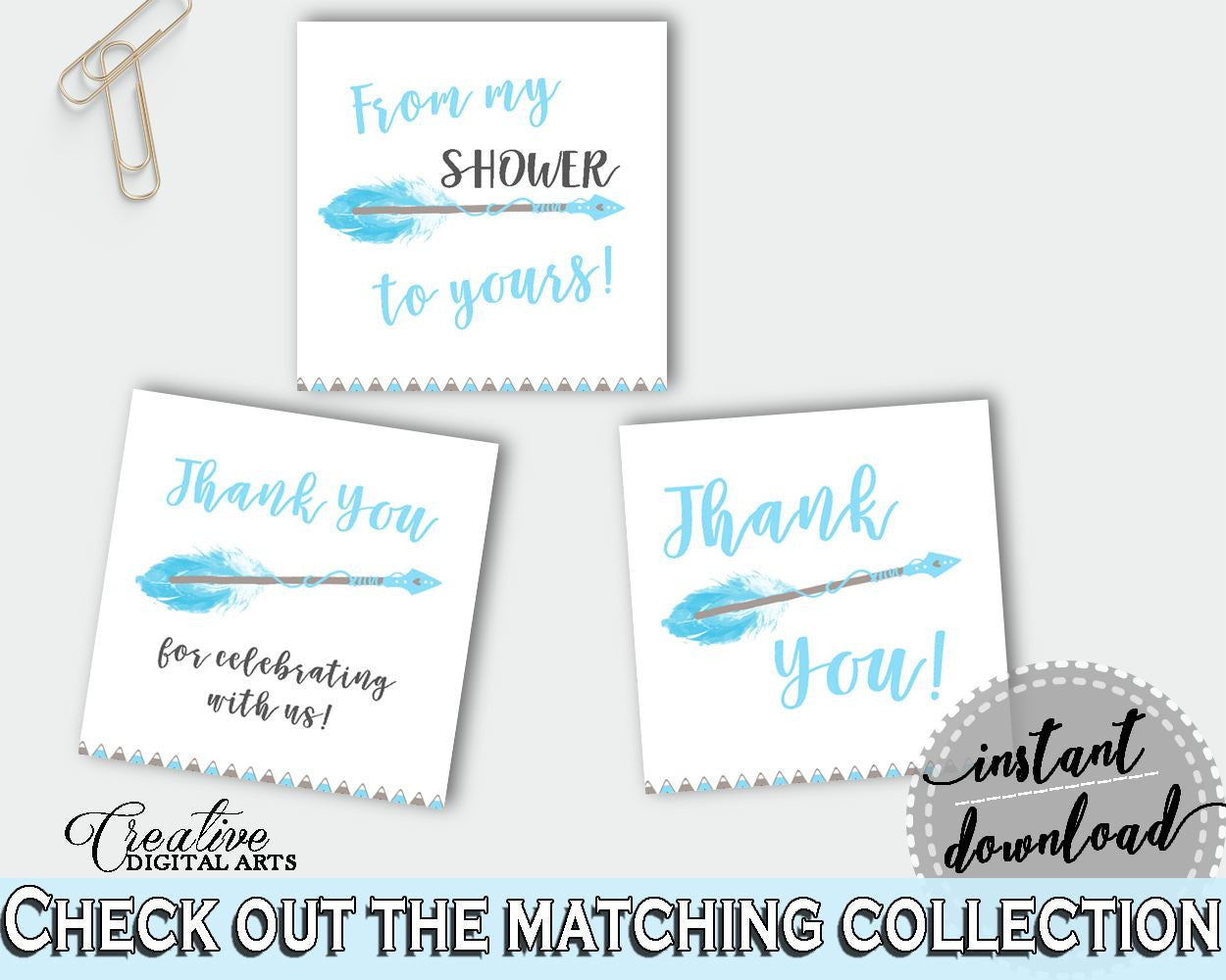 Square Tags Baby Shower Square Tags Aztec Baby Shower Square Tags Blue White Baby Shower Aztec Square Tags - QAQ18 - Digital Product
