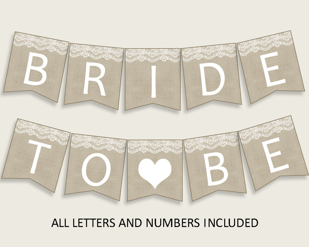 Banner Bridal Shower Banner Burlap And Lace Bridal Shower Banner Bridal Shower Burlap And Lace Banner Brown White instant download NR0BX