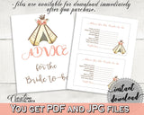 Advice Cards Bridal Shower Advice Cards Tribal Bridal Shower Advice Cards Bridal Shower Tribal Advice Cards Pink Brown party ideas - 9ENSG - Digital Product