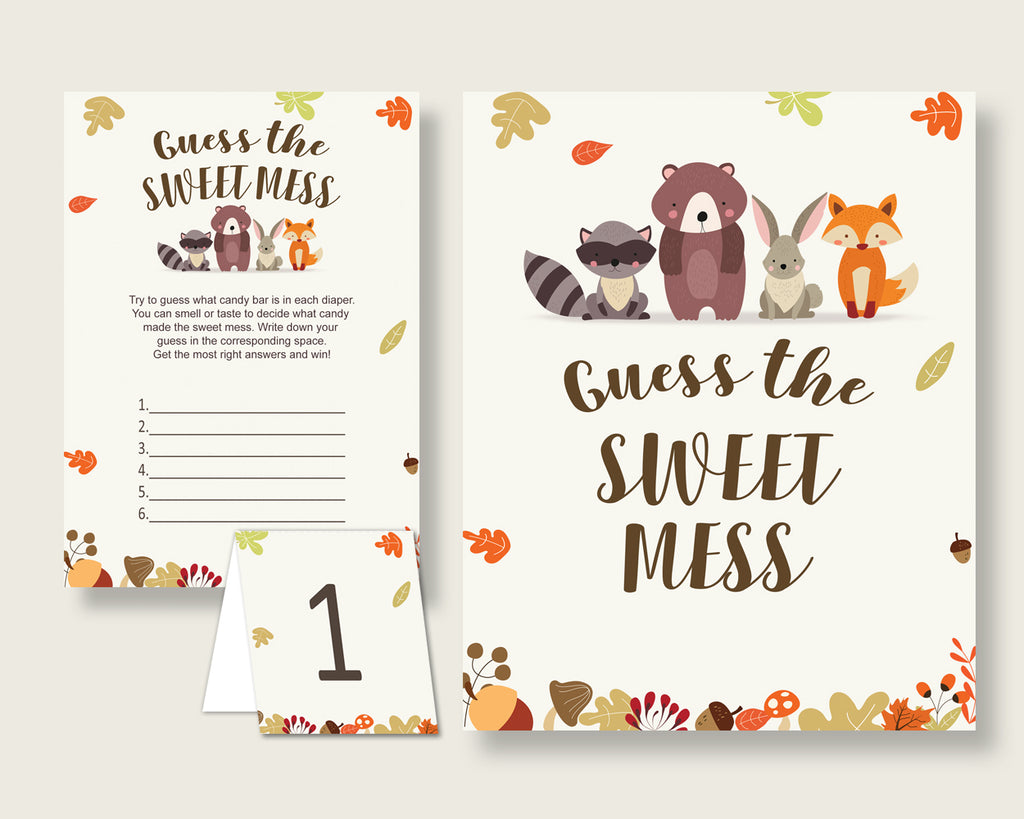 Woodland Guessing Game Baby Shower Gender Neutral, Brown Beige Guess The Sweet Mess Game Printable, Dirty Diaper Game, Instant w0001