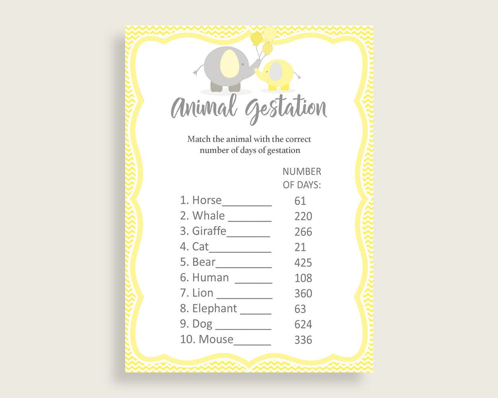 Animal Gestation Baby Shower Animal Gestation Yellow Baby Shower Animal Gestation Baby Shower Elephant Animal Gestation Yellow Gray W6ZPZ
