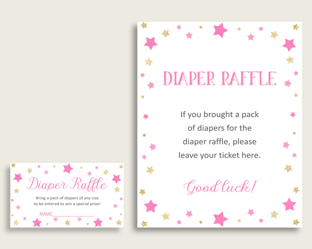 Twinkle Star Baby Shower Diaper Raffle Tickets Game, Girl Pink Gold Diaper Raffle Card Insert and Sign Printable, Instant Download bsg01