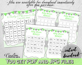 Baby Shower BINGO 60 cards game and empty gift BINGO cards with green chevron theme printable, Jpg and Pdf, instant download - cgr01