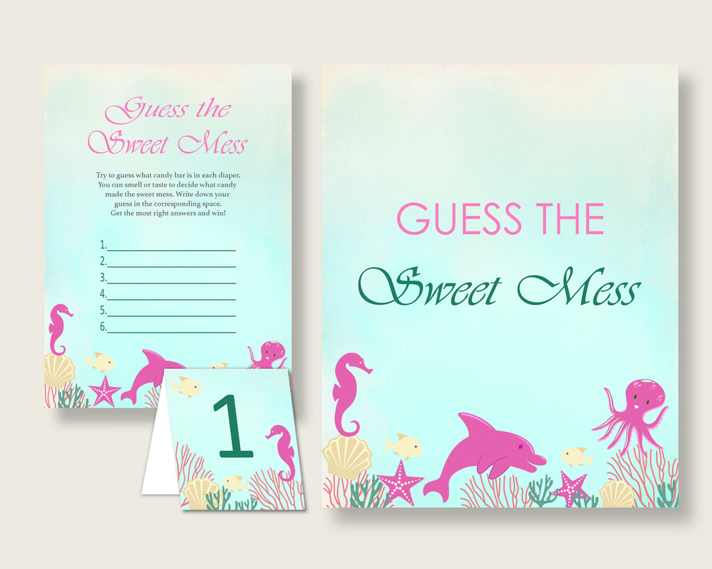 Under The Sea Guessing Game Baby Shower Girl, Pink Green Guess The Sweet Mess Game Printable, Dirty Diaper Game, Instant Download, uts01
