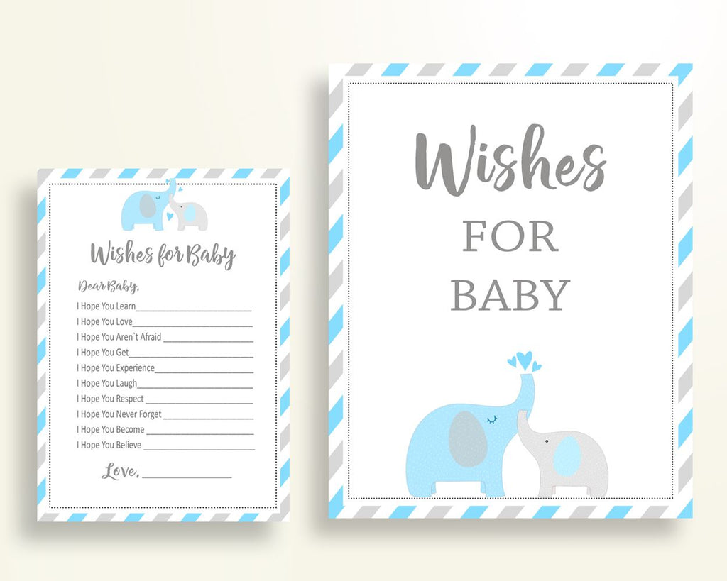 Wishes For Baby Baby Shower Wishes For Baby Elephant Baby Shower Wishes For Baby Blue Gray Baby Shower Elephant Wishes For Baby C0U64 - Digital Product