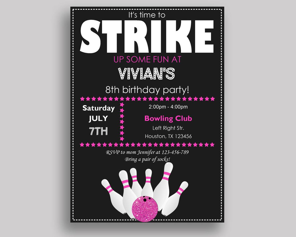 Bowling Birthday Invitation Bowling Birthday Party Invitation Bowling Birthday Party Bowling Invitation Girl bowl cones, strike WYP5V - Digital Product