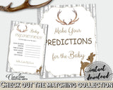 Baby Predictions Baby Shower Baby Predictions Deer Baby Shower Baby Predictions Baby Shower Deer Baby Predictions Gray Brown prints Z20R3 - Digital Product