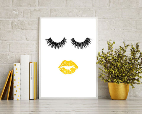 Wall Decor Eyelashes Printable Lips Prints Eyelashes Sign Lips Beauty Art Lips Beauty Print Eyelashes Printable Art Eyelashes gold lips - Digital Download