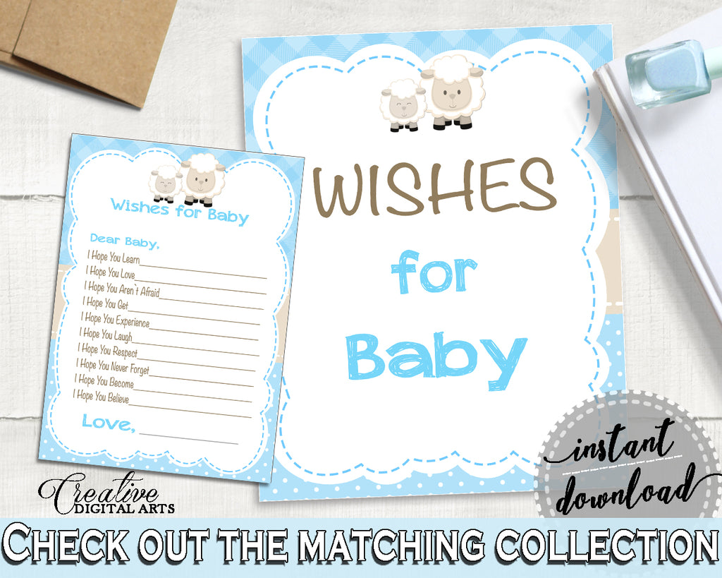 Little Lamb WISHES FOR BABY boy shower activity advice, sheep theme printable, Digital Files Jpg Pdf, instant download - fa001