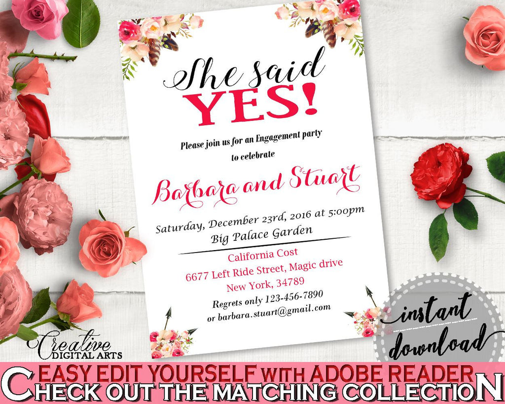 Bohemian Flowers Bridal Shower She Said Yes Invitation Editable in Pink And Red, she said yes shower, party organization, prints - 06D7T - Digital Product
