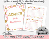 Advice Cards, Baby Shower Advice Cards, Dots Baby Shower Advice Cards, Baby Shower Dots Advice Cards Pink Gold party decor - RUK83 - Digital Product