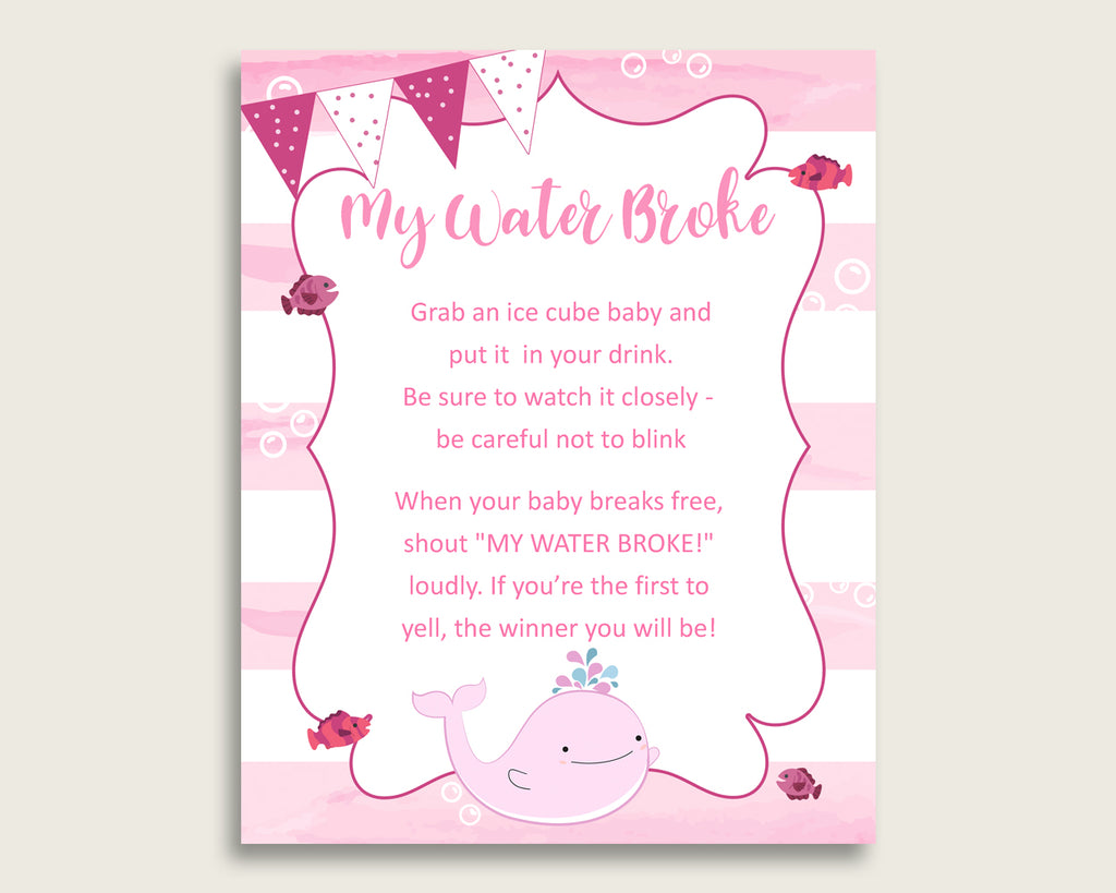 Pink Whale Baby Shower My Water Broke Game Printable, Pink White Ice Cube Babies Game, Girl Baby Shower Frozen Babies Game Sign 8x10 wbl02