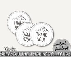 Round Tags Baby Shower Round Tags Adventure Mountain Baby Shower Round Tags Gray White Baby Shower Adventure Mountain Round Tags pdf S67CJ - Digital Product
