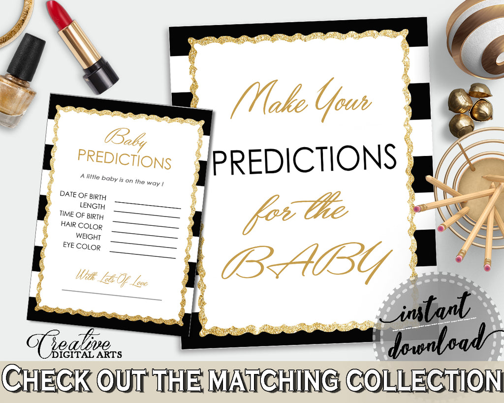 PREDICTIONS FOR BABY sign and cards activity printable for baby shower with white black color stripes theme, instant download - bs001