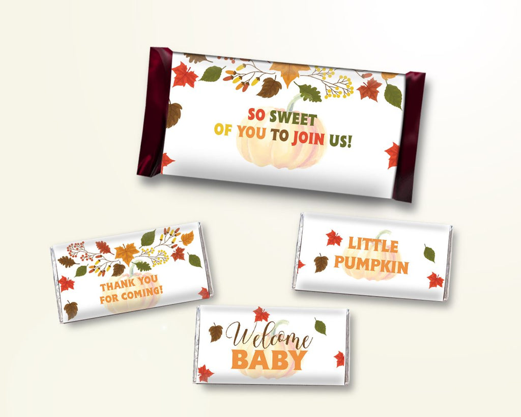 Candy Wrappers Baby Shower Hershey Wrappers Autumn Baby Shower Candy Wrappers Baby Shower Pumpkin Hershey Wrappers Orange Brown baby OALDE - Digital Product