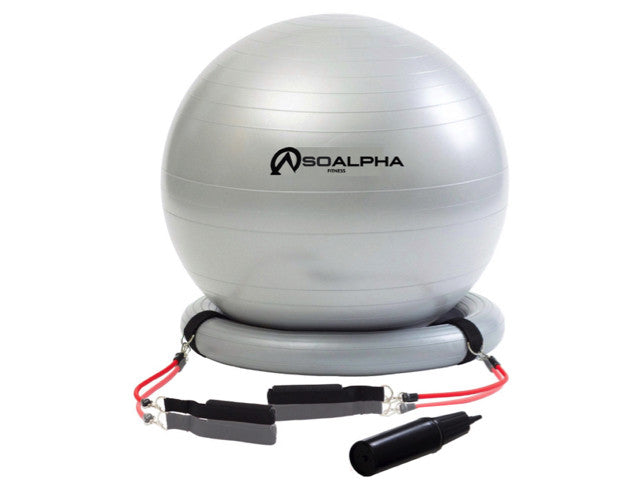Using the Exercise Ball with Resistance Bands at Home or Office