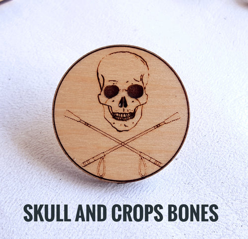 Skull and Cross Crops Pin