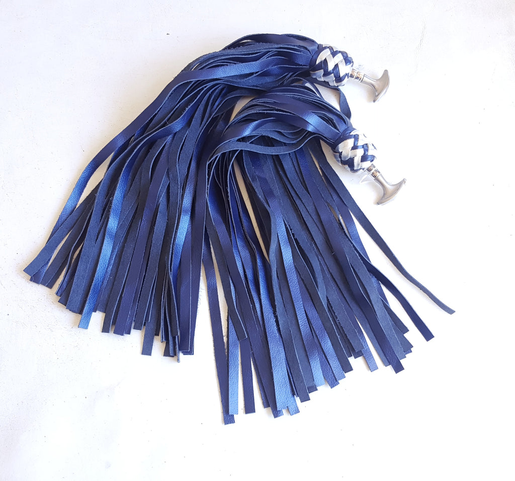 Pair of Indigo Leather Finger Floggers