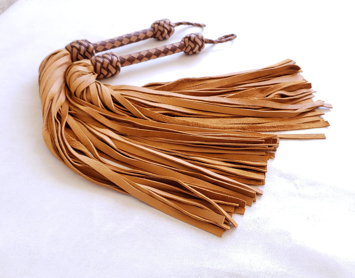 Tan and Brown Elkskin Floggers