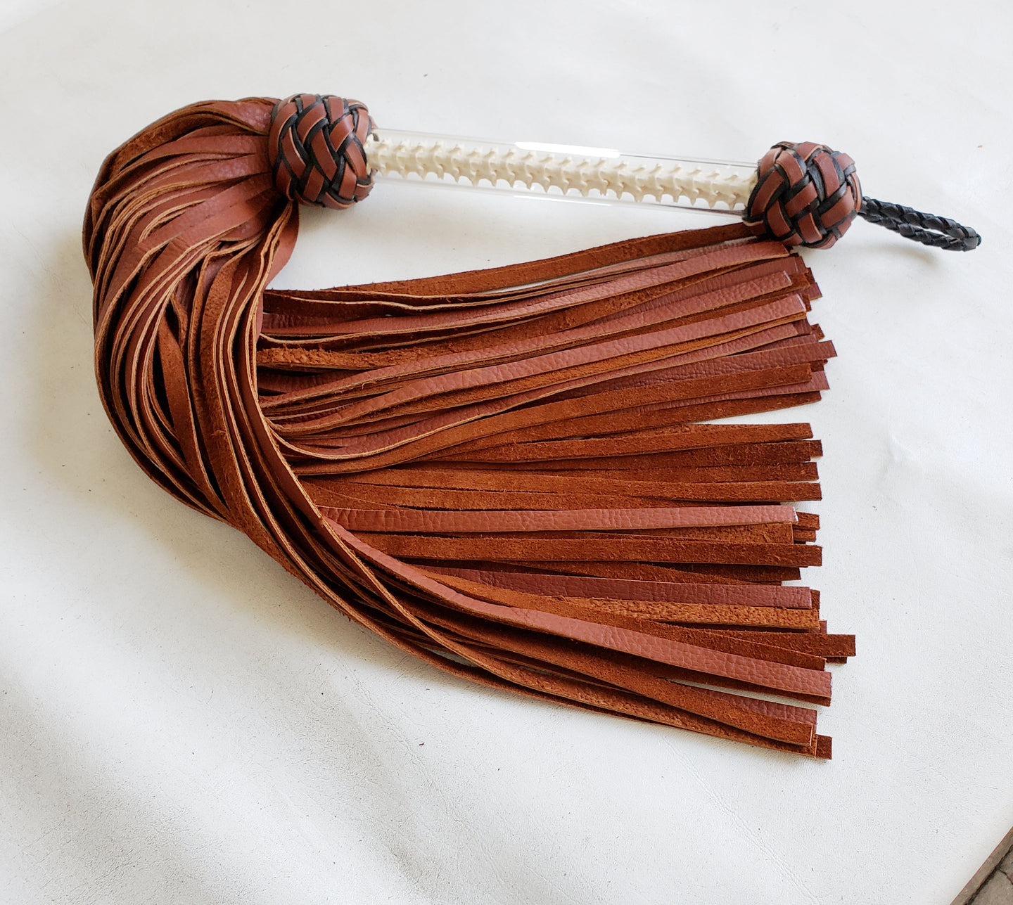 MASSIVE Bison Flogger with Snake Spine Handle - 3 Foot Flogger