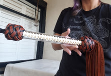 Load image into Gallery viewer, MASSIVE Bison Flogger with Snake Spine Handle - 3 Foot Flogger