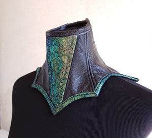 Leather Posture Collar Neck Corset with Green Gold Accent