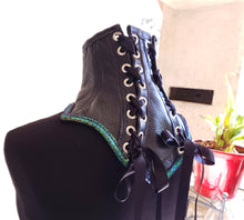 Load image into Gallery viewer, Leather Posture Collar Neck Corset with Green Gold Accent