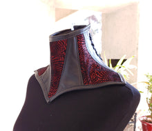 Load image into Gallery viewer, Red and Black Leather Posture Collar