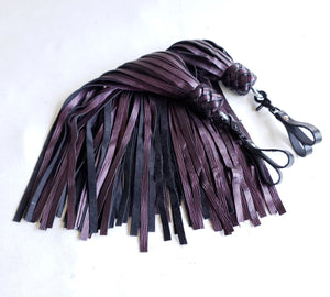 Purple Tiger Leather Finger Floggers - Pair